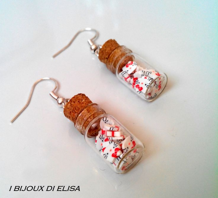 """New collection """"Secrets in the bottle"""": earrings with small bottles and Hello Kitty's small faces. #earrings #earring #orecchini #bijoux #jewels #gioielli #jewerly #jewellery #handmade #ibjiouxdielisa #ilovehandmade #madeinitaly #madewithlove #bottle #bottles #bottiglia #bottiglie #hk #hellokitty #sanrio #cat #gatto #japan #japanesestyle"""