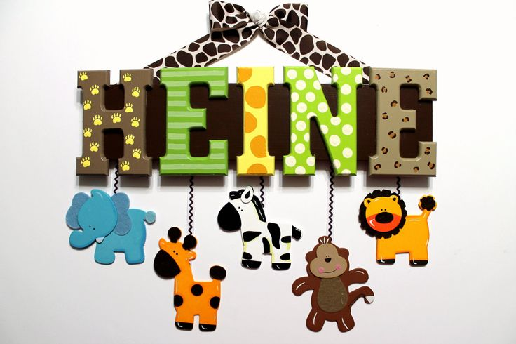 Safari Friends Baby Name Sign (5 Letters) Custom Nursery Decor with Animal Prints, Stripes, Polka Dots. $74.00, via Etsy.