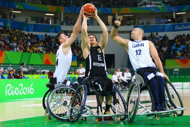 Ian Sagar of Great Britain and Alexander Halouski of Germany during Wheelchair basketball match Germany against Great Britain during Rio 2016 Paralympics at Carioca Arena 1 on September 11, 2016 in Rio de Janeiro, Brazil.
