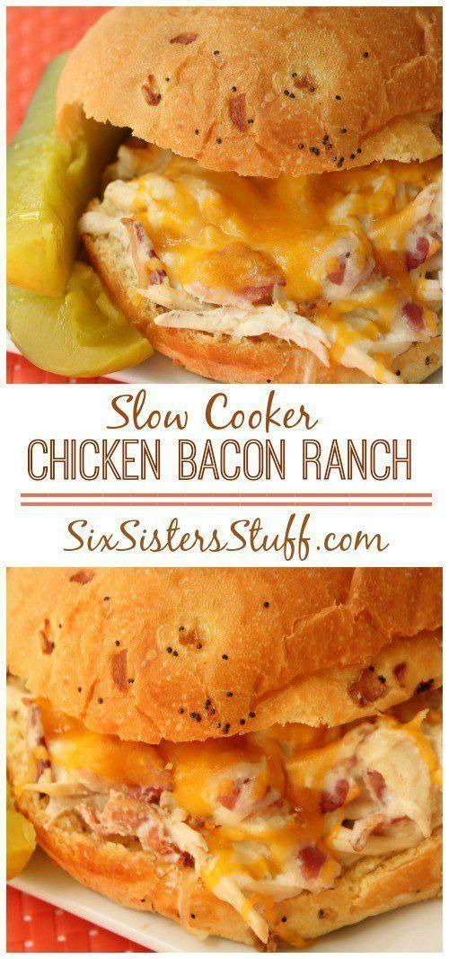 Slow Cooker Chicken Bacon Ranch Sandwich on Six Sisters Stuff | Best Crockpot Recipes | Slow Cooker Dinner Ideas | Easy Meals