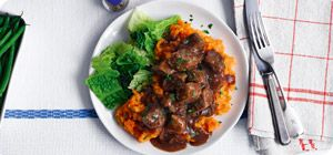 Chunks of tender beef in a deliciously rich onion and balsamic vinegar gravy with carrot and swede mash.
