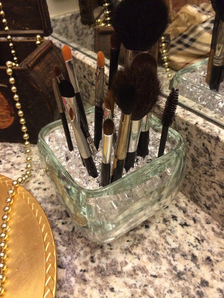 DIY makeup brush holder. Vase from WalMart for less than