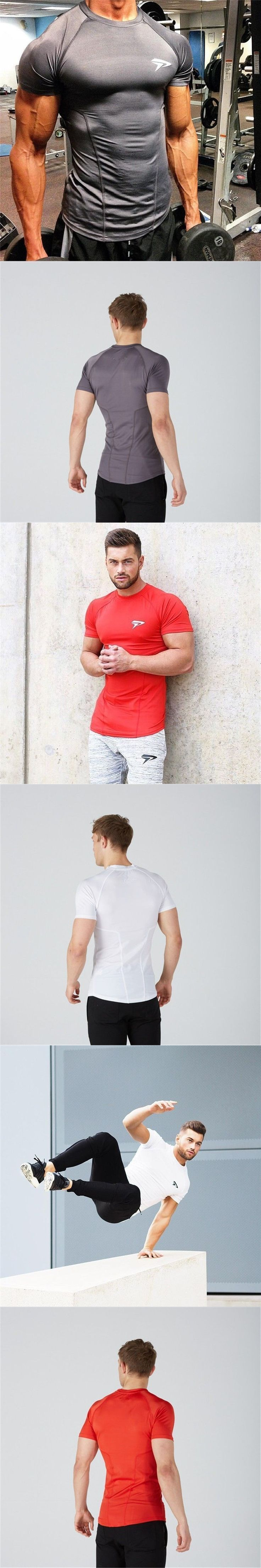 New high quality 2017 gymS leica polyester patchwork compressed T-shirt gyms male bodybuilding muscle men men's t shirts #menst-shirtsgym