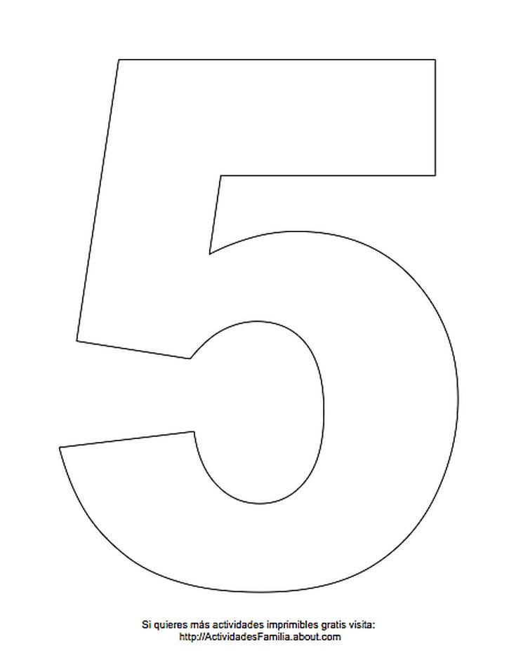 Dibujos de números para colorear: Número 5 para colorear