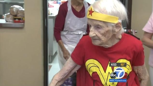 Mary Cotter Celebrated Her 103rd Birthday Volunteering At The Montclair Senior Center, Dressed As Wonder Woman
