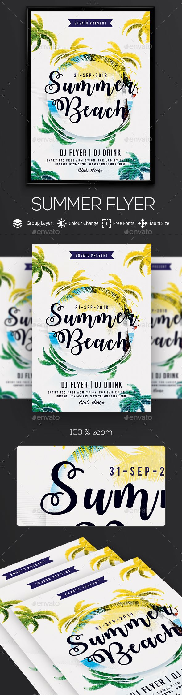 Summer Chill - PSD #Flyer Template - Clubs & Parties Events Download here:  https://graphicriver.net/item/summer-chill-psd-flyer-template/20367258?ref=alena994