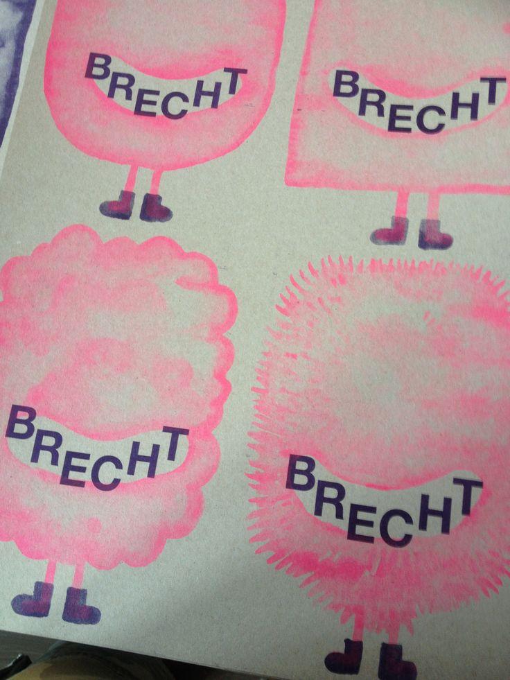 """Bijzondere geboorte kaartjes - Risoprint - Fluoriscent roze- illustratie - ontwerp door """"Kok Pistolet"""" - handwerk - ambachtelijk - Op Muskat Grey 290 grs. - Recycle papier  - www.dekijm.nl"""
