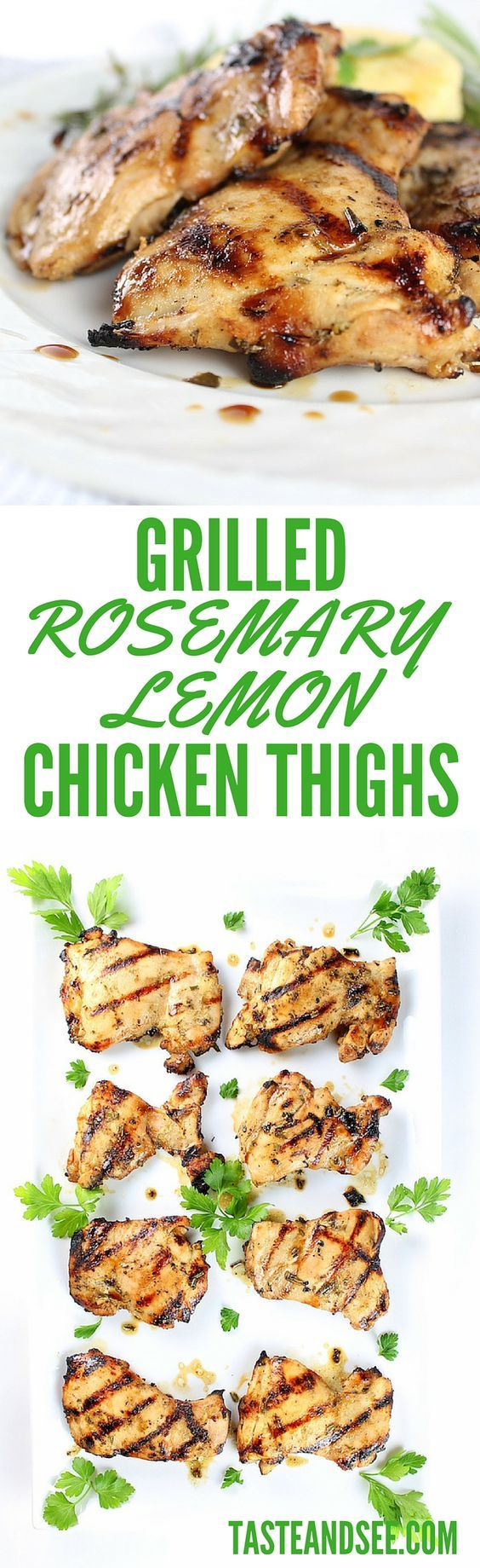 Grilled Rosemary Lemon #Chicken Thighs – marinated in lemon, rosemary, Dijon mustard, & honey… full of flavor, juicy, and beautifully caramelized.  A quick, easy & delicious entrée!  http://tasteandsee.com