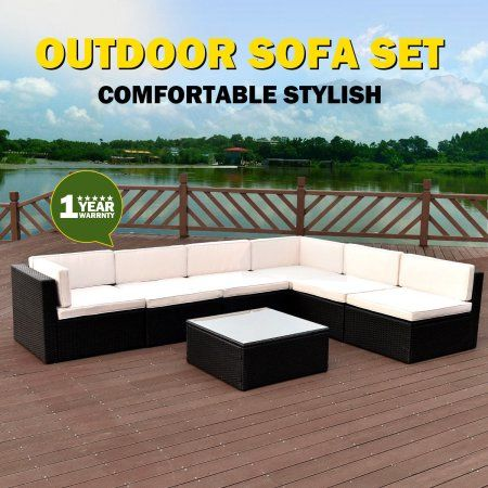 Costway 7 PCS Black Rattan Wicker Furniture Set Sectional Seat Cushioned Garden Deck