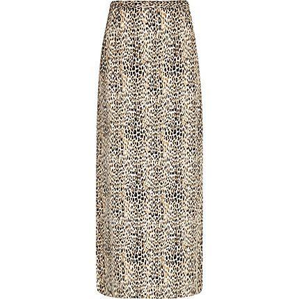 Brown animal print maxi skirt £35.00 #riverisland