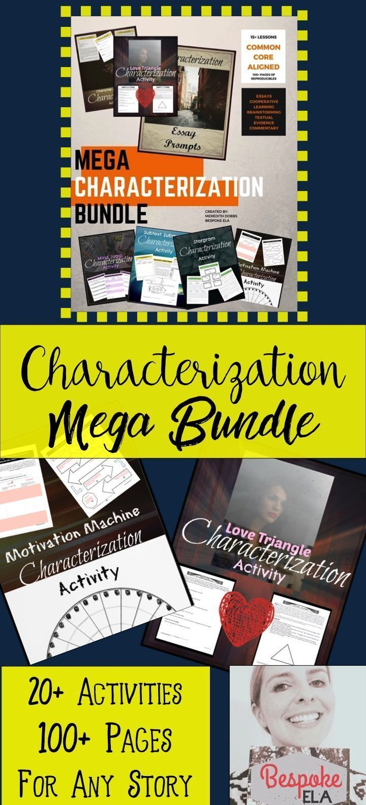 This bundle consists of 15+ multi-lesson activities to get your students involved in analyzing one of the key literary elements: characterization. It also includes Characterization QUICK PICKS, and all activities can be used with ANY TEXT, NOVEL, or SHORT STORIES.  Great for literary analysis and reading workshop in middle school and high school English Language Arts.  by Bespoke ELA