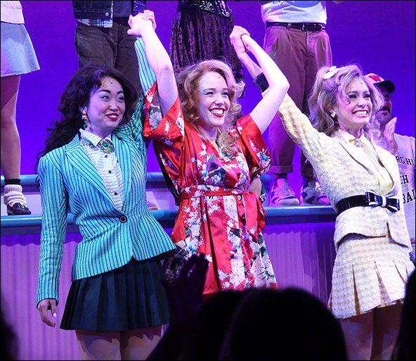 Alice Lee, Jessica Keenan Wynn and Elle McLemore Heathers curtain call