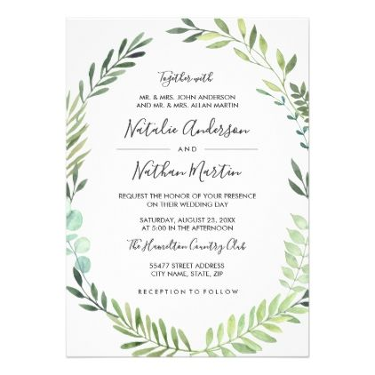 Green Watercolor Wreath Frame Wedding Invitation - spring wedding diy marriage customize personalize couple idea individuel