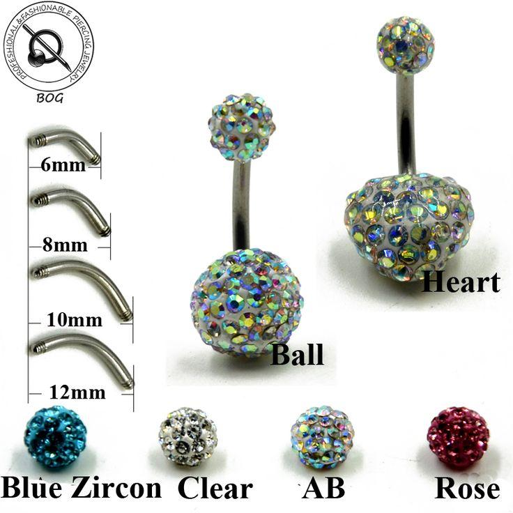 BOG-Lot 1 Piece Belly Button Ring Navel Piercing Nombril Ombligo Stud Epoxy CZ Crystal Ferido Disco Balls Body Jewelry Earring