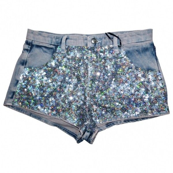 MINI GREY DENIM SHORTS WITH SEQUINS TOPSHOP ❤ liked on Polyvore featuring shorts, colorful shorts, mini denim shorts, grey shorts, gray shorts and jean shorts
