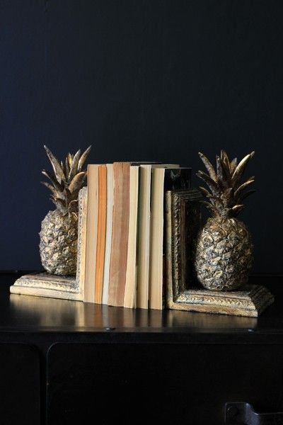 Gold Pineapple Bookends - Home Accessories