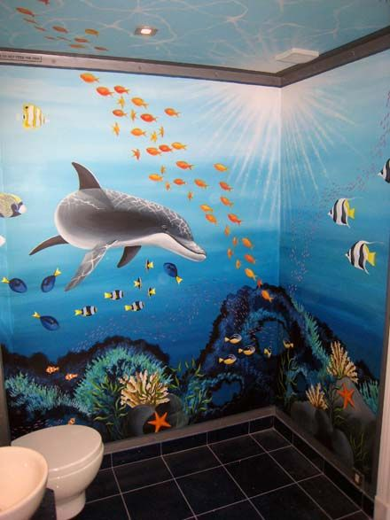 45 best images about bathroom murals on pinterest beach for Aquarium mural gifi