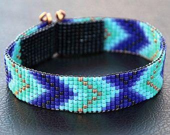 Blue and Copper Chevron Bead Loom Cuff Bracelet - Native American Style Beaded Jewelry - Boho -Tribal -Turquoise -Beadweaving - Southwestern