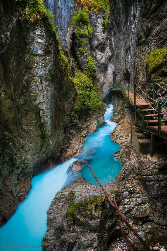 Leutasch Gorge - Bavaria - Germany...sooo beautiful.. The water looks like it glows!!