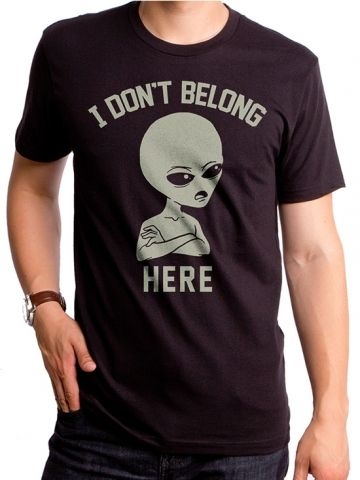 "Men's ""I Don't Belong Here"" Tee by Goodie Two Sleeves (Black) #inkedshop #graphictee #fashion #top #art #alien #idontbelonghere"