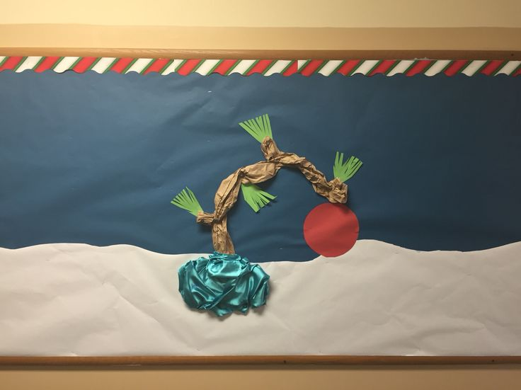 Charlie Brown Christmas bulletin board. Student snowflakes and/or writing to go with it later.