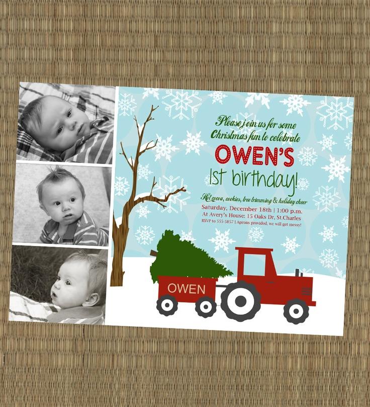 Printable Christmas Birthday Invitation Winter Christmas