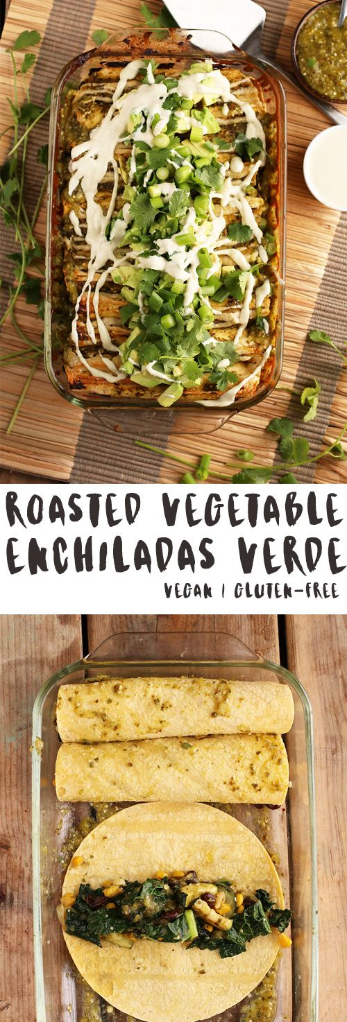 These vegan Enchiladas Verde are filled with roasted vegetables and topped with homemade salsa and cashew cream for a delicious plant-based and gluten-free dinner.