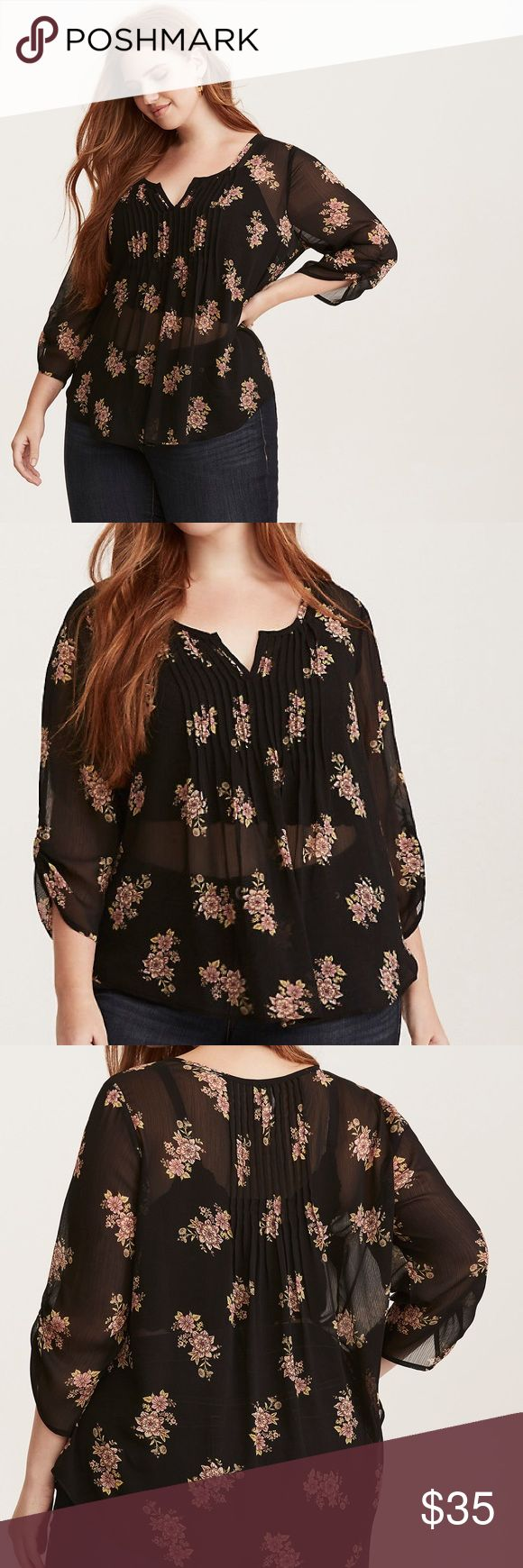 """Torrid Floral Print Chiffon Pintuck Top """"Love the skin you're in? Treat it right with this top; you're guaranteed to catch some air. The sheer black chiffon provides its own air supply with a swingy hem and a pleated collar. A floral print lends a girly touch to the float on style. Ruched sleeves help define. Approx measures 29 1/4"""" from shoulder. Polyester."""" New with tags, size 2X. torrid Tops"""
