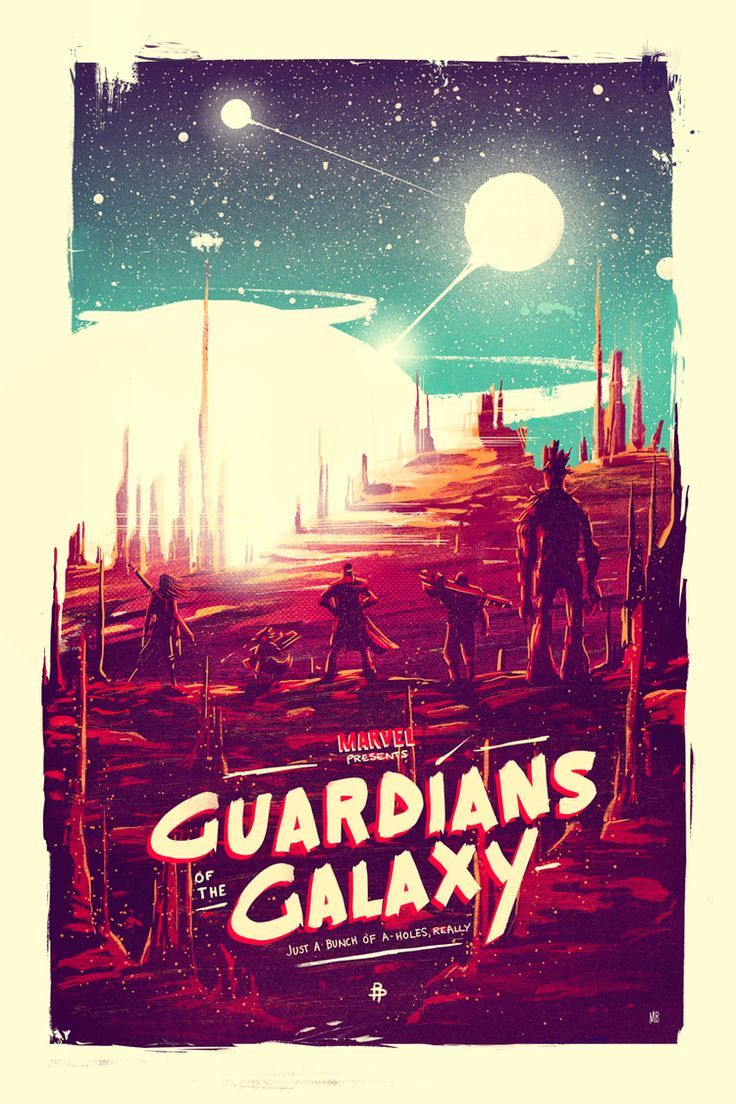 Digging the style of this, it suits the movie well! Guardians of the Galaxy by Marie Bergeron