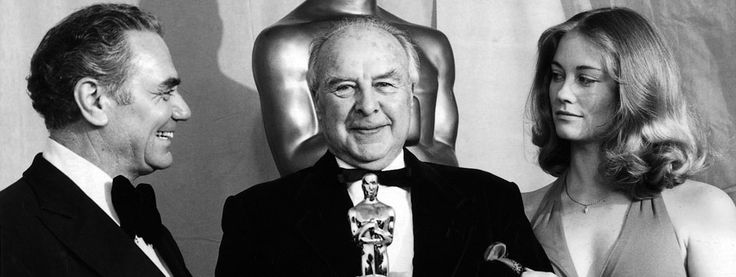 """5/24/14  2:39a  The Academy Awards Ceremony 1974: Best Supporting Actor  Oscar John Houseman for """"The Paper Chase""""    1973 Presenters:   Ernest Borgnine and Cybill Shepherd. oscars.org"""