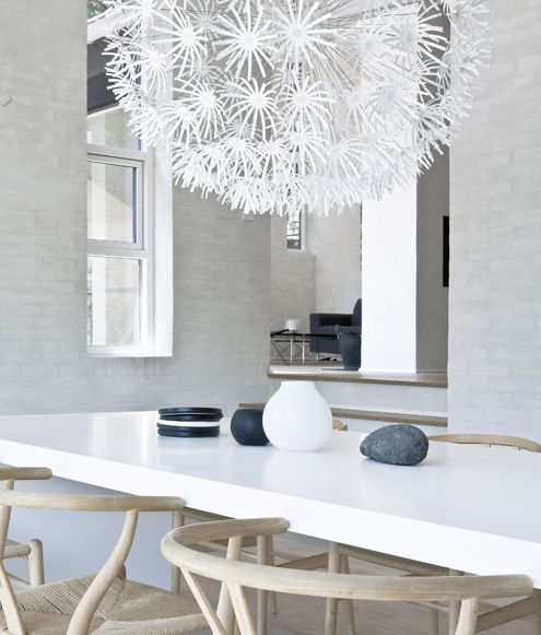 white table, wood chairs, black, white, grey accessories