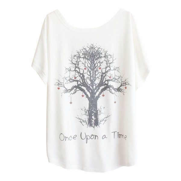 Batwing Wishing Tree Print T-Shirt ($7.99) ❤ liked on Polyvore featuring tops, t-shirts, white, print t shirts, batwing top, round neck t shirt, short sleeve tops and batwing t shirt
