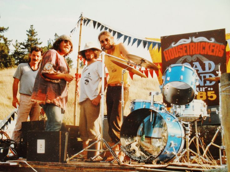 The 1st Housetruckers Ball 1984. (on the rock) The Crater Aratiatia . Taupo. setting up frm left  Gabes , Ian , Ralph , Housetruck Murray.