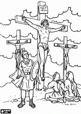 Jesus Crucified Between Two Thieves On Calvary Under The Supervision Of A Roman Soldier Coloring Page
