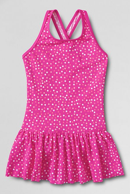 Girls' Smart Swim Pattern Skirted One Piece Swimsuit from Lands' End  $34