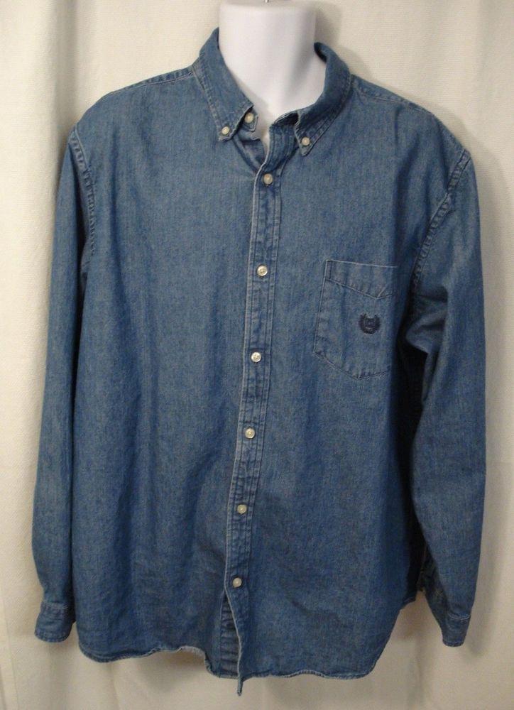 26524dee049e48 Mens's CHAPS Denim Jean Shirt Size XL #Chaps #ButtonFront | Jean ...