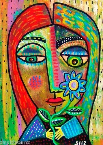Sandra Silberzweig Abstract Flower Child Canvas ACEO Print | eBay