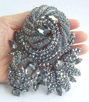 """Helenajewelry 4.72 """" черный анти-тон серый горный хрусталь хрустальный цветок брошь Pin подвеска EE04248C2"""