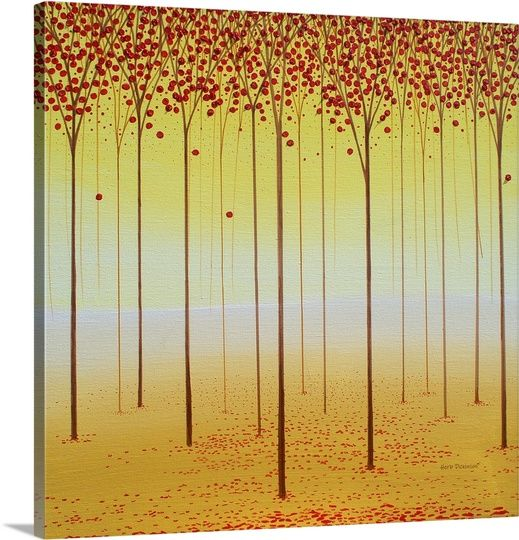 "Square painting with warm tones of tall, skinny trees in rows with red leaves - ""Forest Memories"" wall art by Herb Dickinson from Great BIG Canvas"