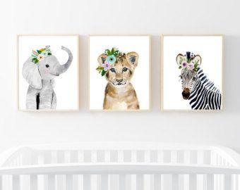 Guardería de bebés de Safari ubicado, pinturas de animales, elefante, León, cebra, animal acuarela, cartel niños, bebé niña vivero arte, arte infantil