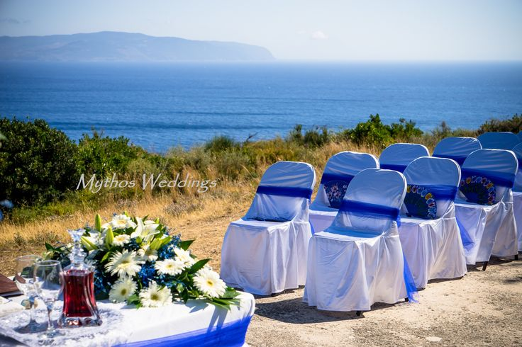 Wonderful set up in blue - Love this #weddingflowerideas #chapelwedding #mythosweddings #kefalonia