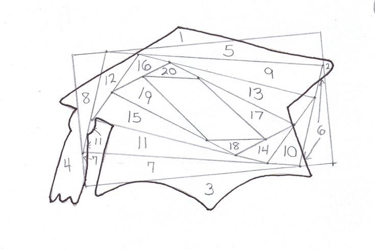 Layout: Graduation Cap Iris Fold Pattern
