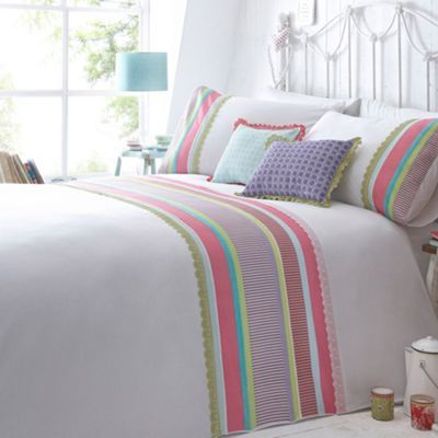At Home With Ashley Thomas White 39 Ivy 39 Multi Striped Panel Bedding Set At