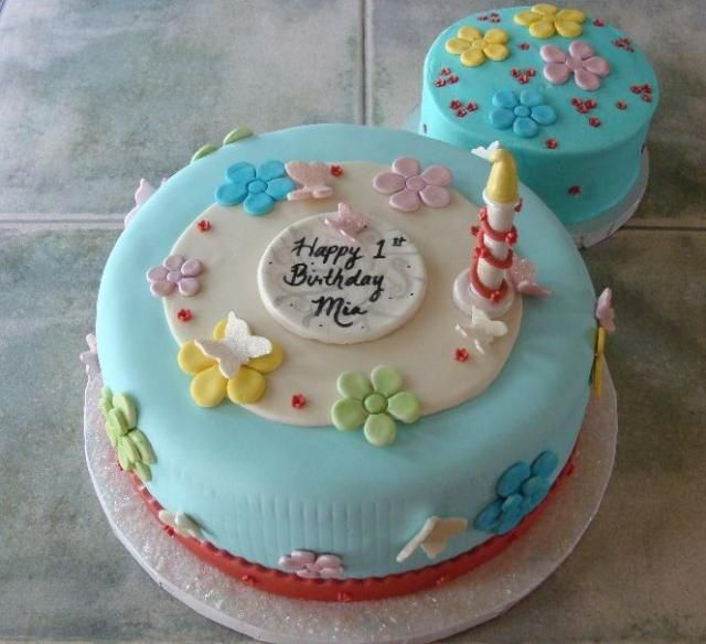 Cake Decorations For 1 Year Old : Turquoise birthday cake for one year old.JPG Baby stuff ...
