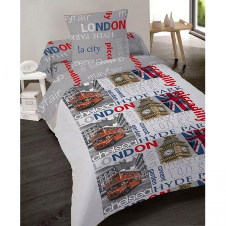 Housse de couette LONDON UK 220x240 + 2 taies d'oreiller