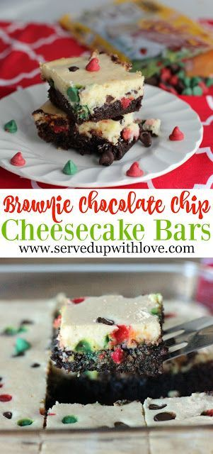 Brownie Chocolate Chip Cheesecake Bars recipe from Served Up With Love. Sinfully delicious and the perfect treat to start off your holiday baking. These are ooey, gooey, and oh so good!  #BakeHolidayGoodness #ad @warlmart @Nestle
