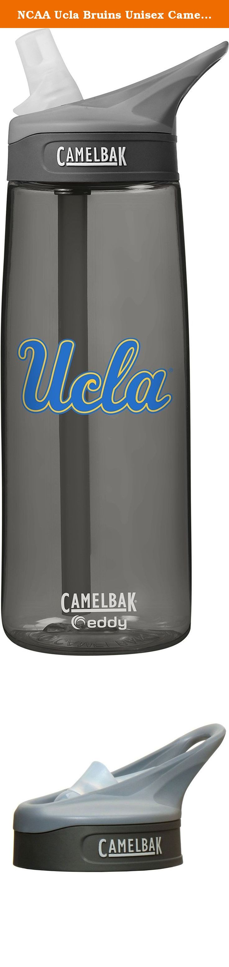 NCAA Ucla Bruins Unisex CamelBak Eddy 75L Collegiate Water Bottle, CHARCOAL, 75 Liter. The Eddy bottle makes portable hydration simple-just flip, Bite and sip. The 75L size fits easily in the hand and is compatible with most cup holders. The loop handle makes it easy to clip to a pack or comfortably carry in the crook of your finger. The spill-proof design, durable construction and BPA-free materials make it an ideal bottle for work or play.
