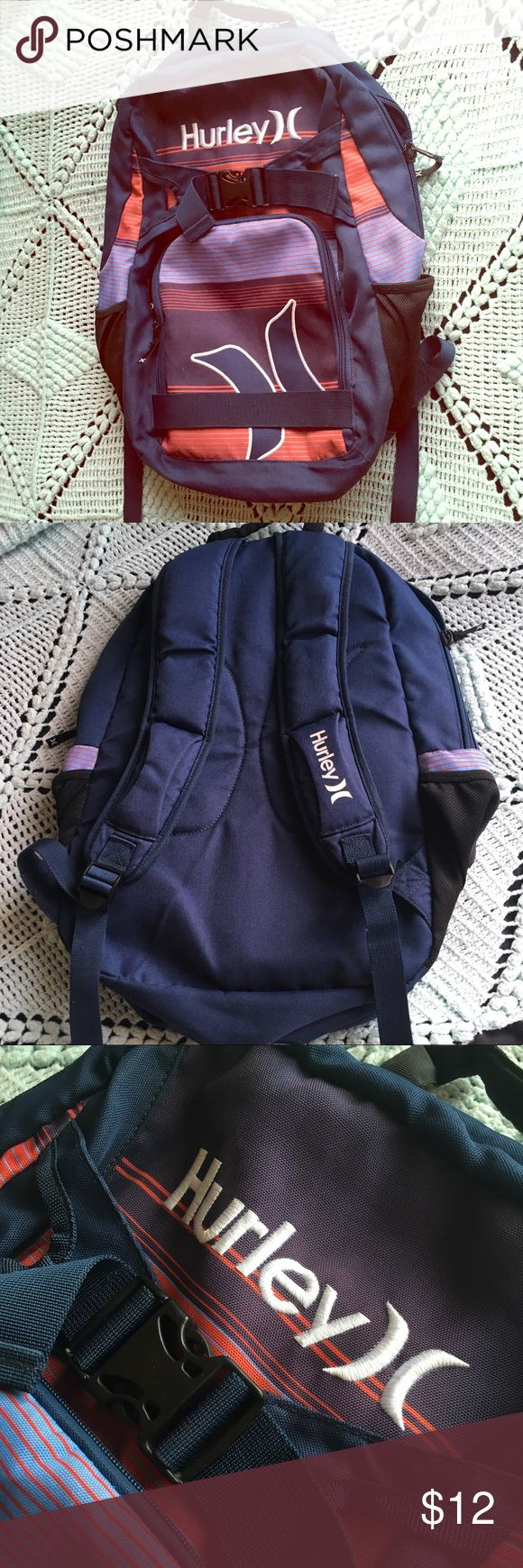 Full Size Hurley Backpack - Used Hurley Backpack - Features Front Zipper Pocket - One Large Main Compartment - Cup Holders on Outside  NOTE: There is a rip along the top of a pocket in the main compartment. I thought to cut out that pocket completely, but I left the Backpack AS IS, in case one of you are skilled at sewing. It is a pretty easy fix. Overall still a great quality product! Hurley Bags Backpacks