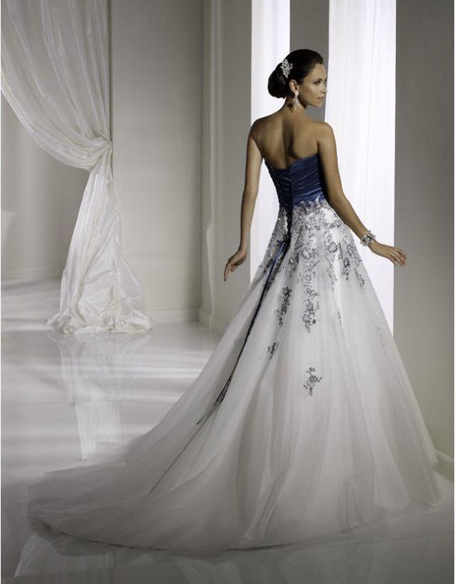 Midnight Blue Wedding Dress And White