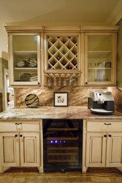 Walk-up bar with wine refrigerator